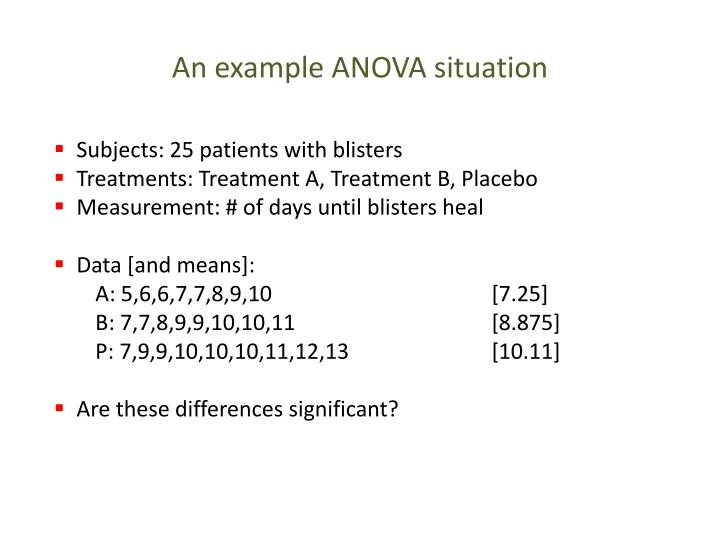 An example anova situation