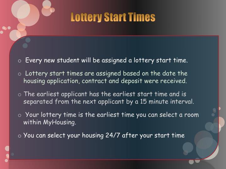Lottery Start Times