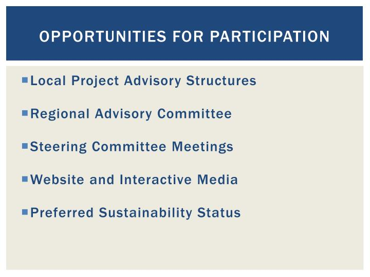 Opportunities for participation