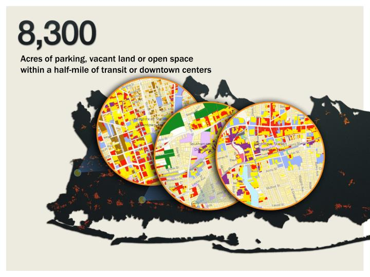 Acres of parking, vacant land or open space within a half-mile of transit or downtown centers
