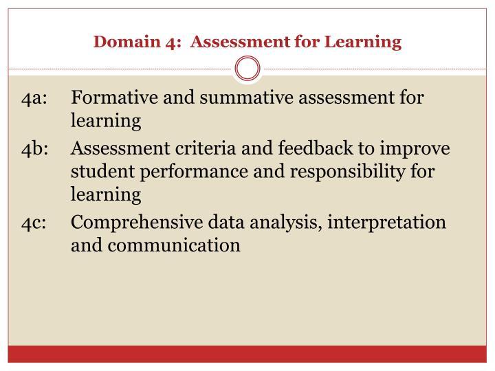 Domain 4:  Assessment for Learning