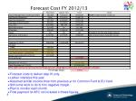 forecast cost fy 2012 13