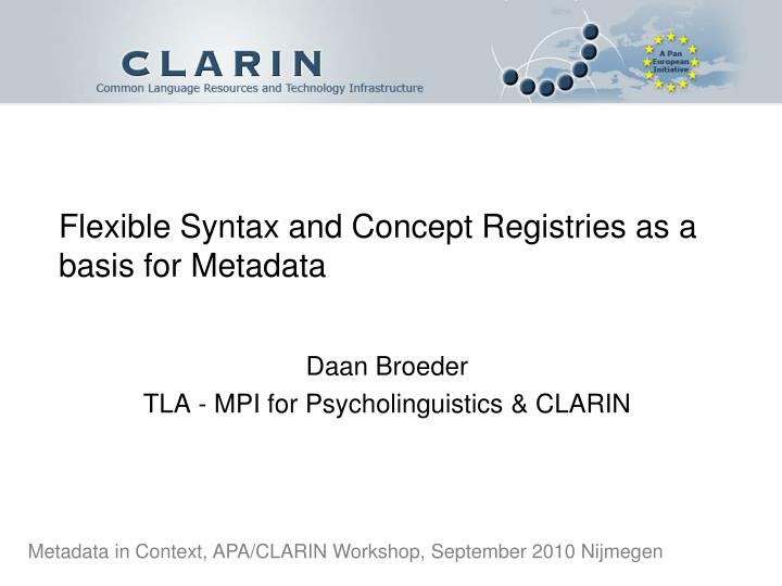 flexible syntax and concept registries as a basis for metadata n.