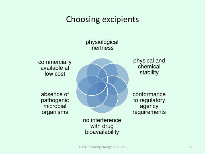 Choosing excipients