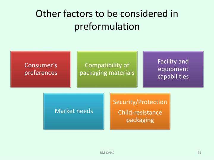 Other factors to be considered in