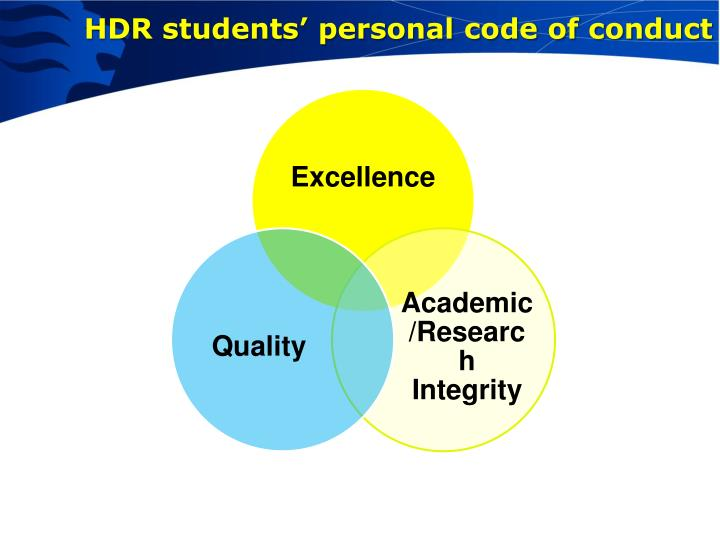 HDR students' personal code of conduct