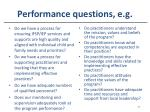performance questions e g