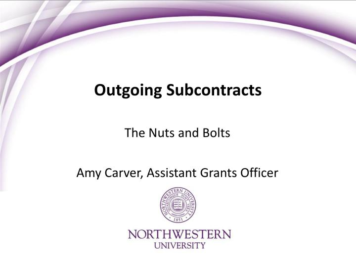 outgoing subcontracts n.