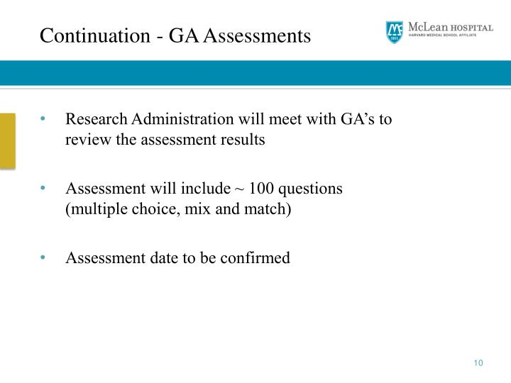 Continuation - GA Assessments