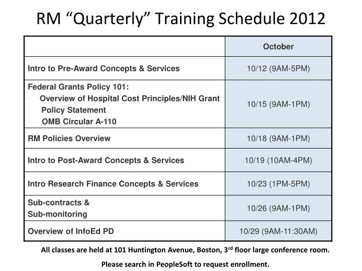 "RM ""Quarterly"" Training Schedule 2012"