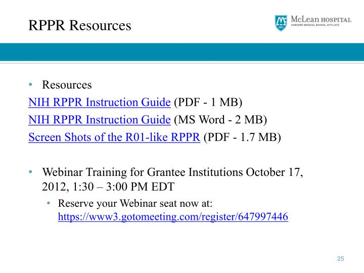 RPPR Resources