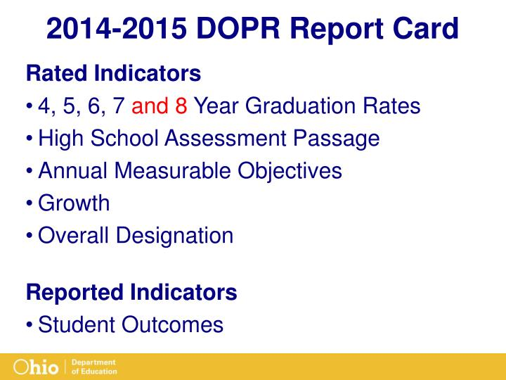2014-2015 DOPR Report Card