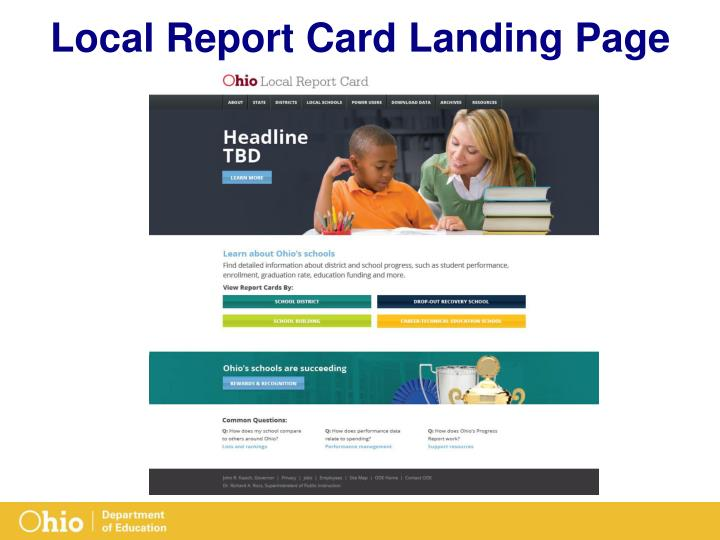 Local Report Card Landing Page