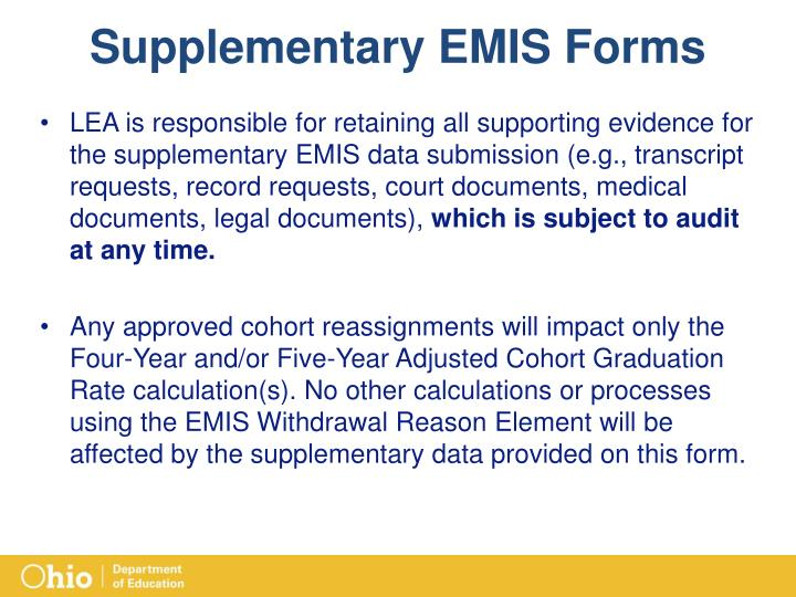 Supplementary EMIS Forms