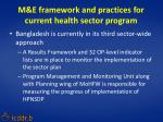 m e framework and practices for current health sector program