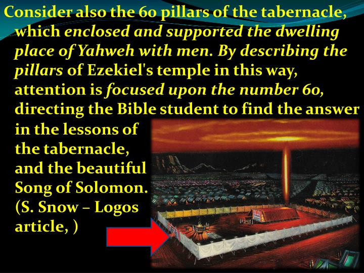 Consider also the 60 pillars of the tabernacle, which