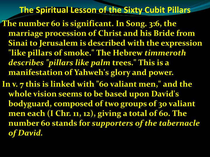 The Spiritual Lesson of the Sixty Cubit Pillars