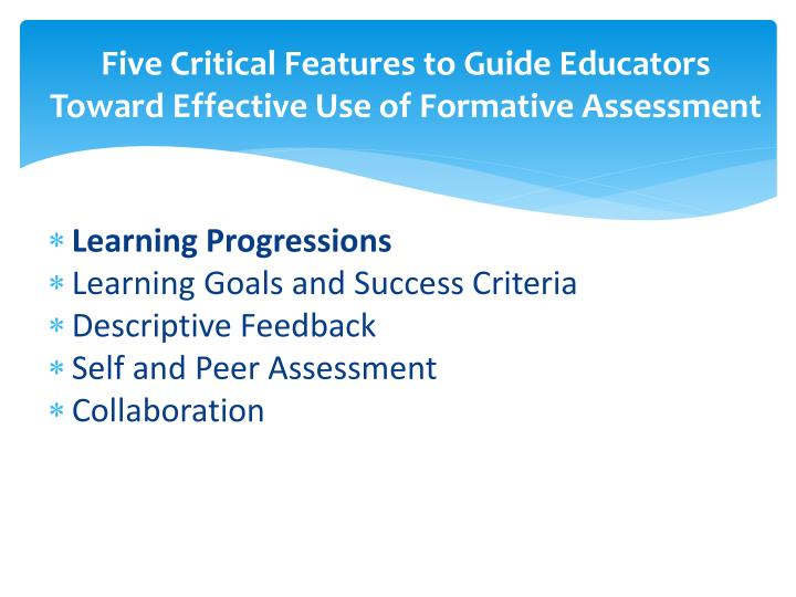 Five Critical Features to Guide Educators Toward Effective Use of Formative Assessment