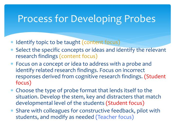 Process for Developing Probes