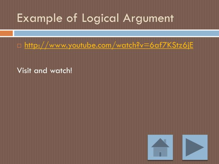 Example of Logical Argument