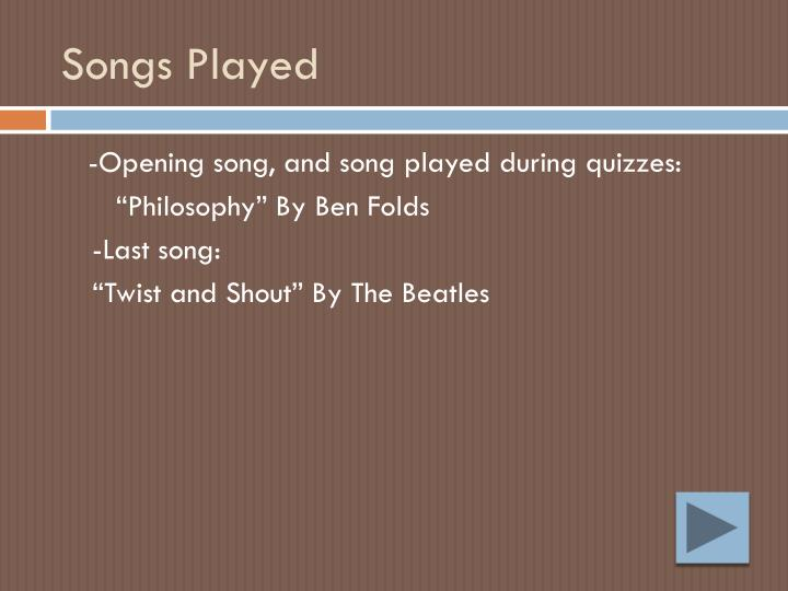 Songs Played