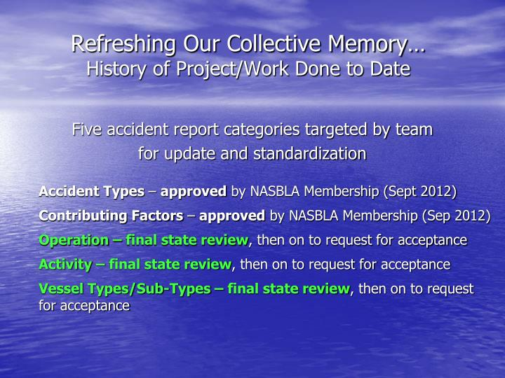 Refreshing our collective memory history of project work done to date