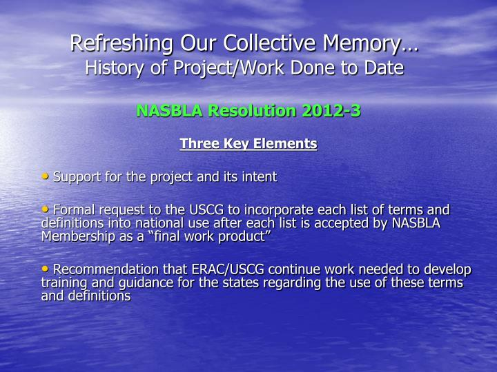 Refreshing Our Collective Memory…