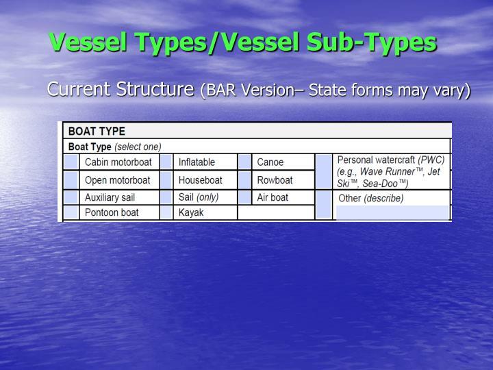 Vessel Types/Vessel Sub-Types