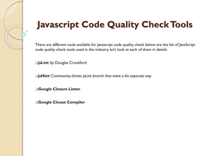 Javascript code quality check tools1