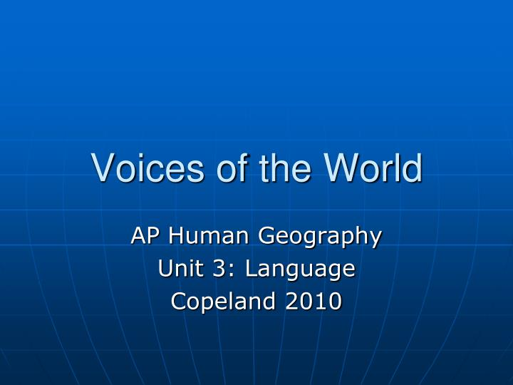 voices of the world n.