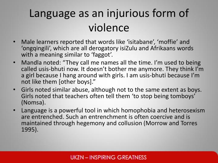 Language as an injurious form of violence
