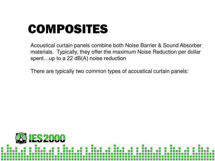 Acoustical curtain panels combine both Noise Barrier & Sound Absorber materials.  Typically, they offer the maximum Noise Reduction per dollar spent…up to a 22 dB(A) noise reduction