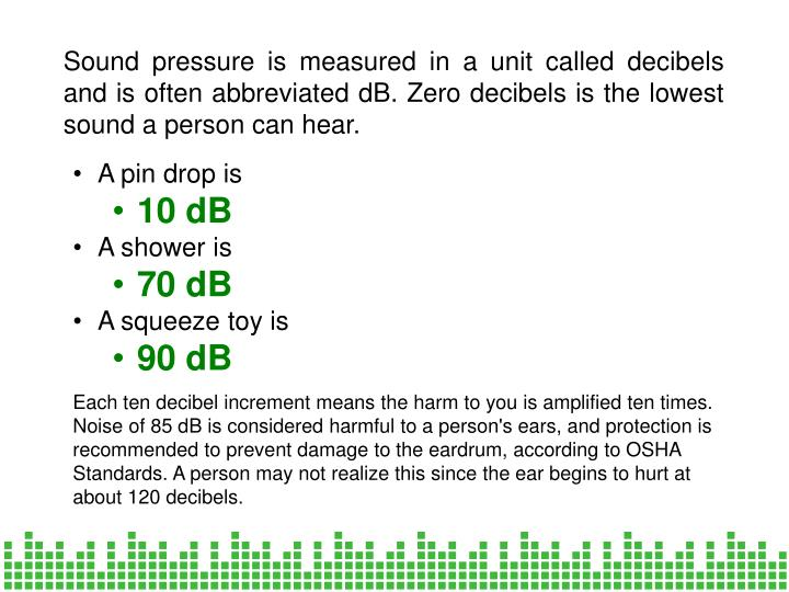Sound pressure is measured in a unit called decibels and is often abbreviated