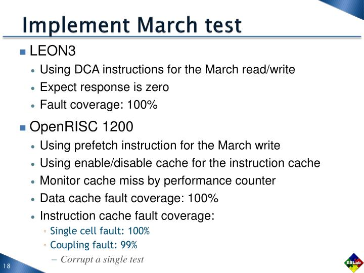 Implement March test