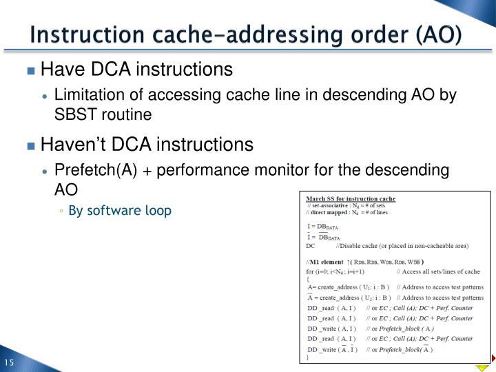 Instruction cache-addressing order (AO)