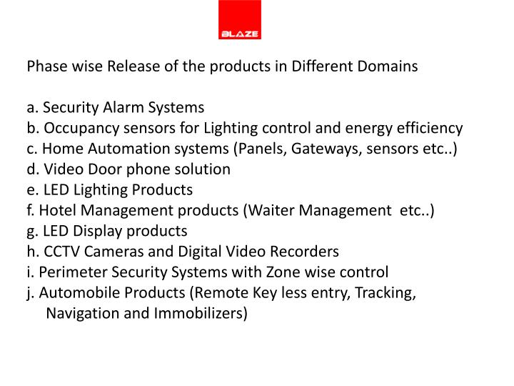 Phase wise Release of the products in Different Domains