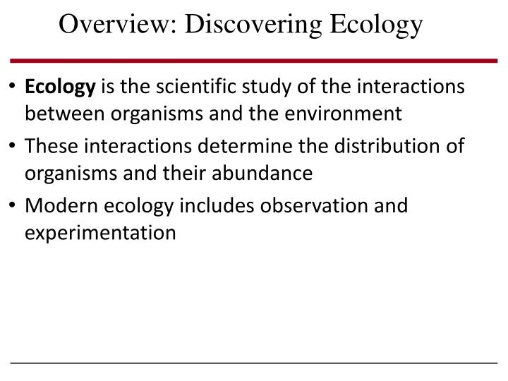 overview discovering ecology n.