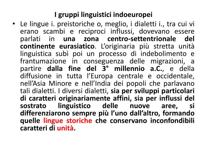 I gruppi linguistici indoeuropei