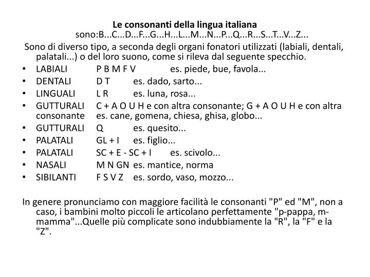 Le consonanti della lingua italiana