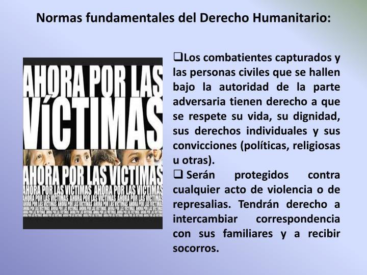 Normas fundamentales del Derecho Humanitario: