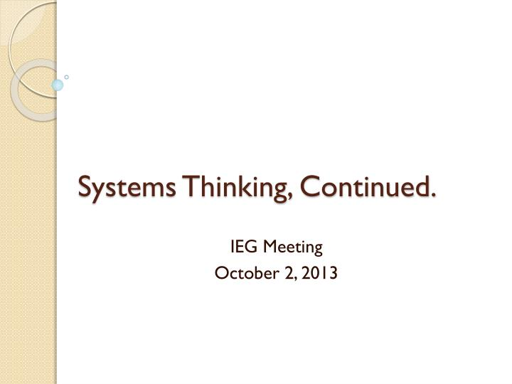 systems thinking continued n.