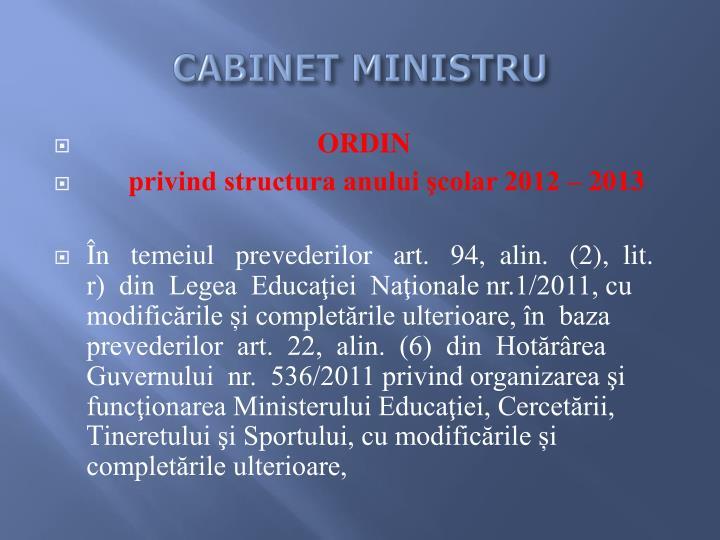 CABINET MINISTRU