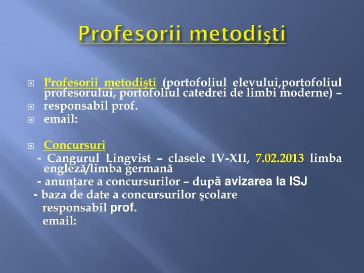 Profesorii metodişti