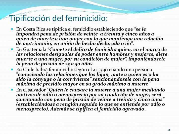 Tipificación del feminicidio: