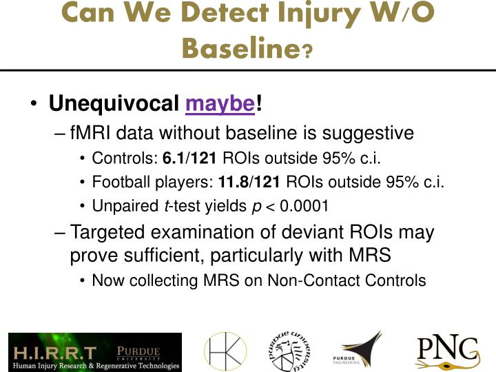 Can We Detect Injury W/O Baseline?