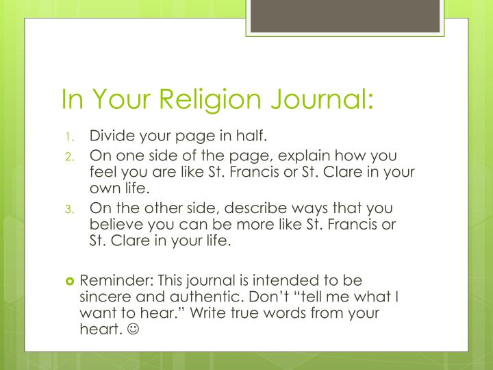 In Your Religion Journal: