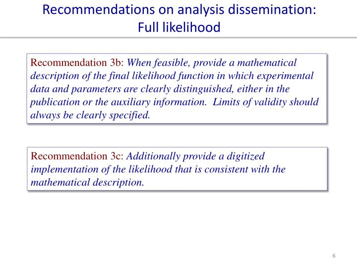Recommendations on analysis dissemination: