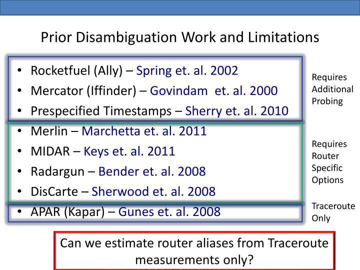 Prior Disambiguation Work and Limitations