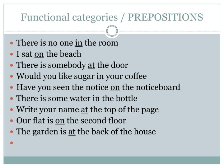 Functional categories / PREPOSITIONS
