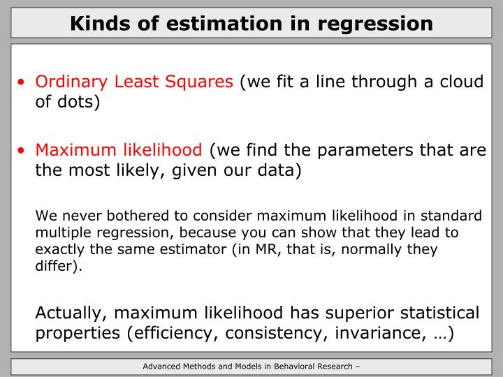 Kinds of estimation in regression